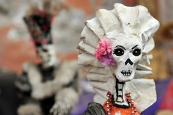 Day of the Dead, Modern representations of La Catrina at  the Art-market of San Angel in Mexico City, Mexico.
