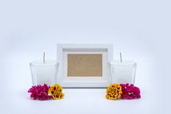 Day of the dead offering with candles and flowers. Mockup