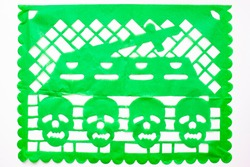 Day of the Dead, Papel Picado. Green Real traditional Mexican paper cutting flag. Isolated on white background.