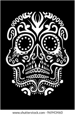 day of the dead skull (raster version) - stock photo