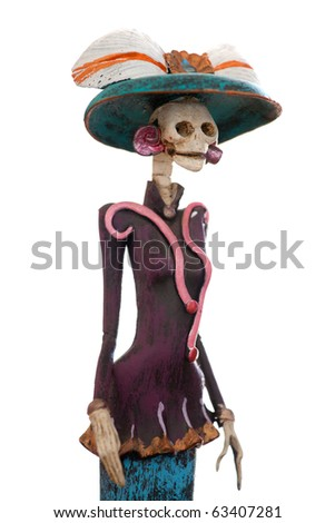 Day of the death. Traditional mexican catrina isolated in white background. Shallow depth of field.