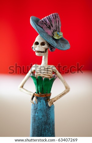 Day of the death. Traditional mexican catrina. Shallow depth of field.
