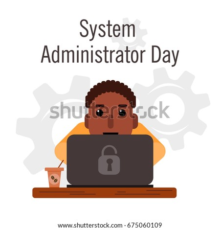 Day of the system administrator. Cartoon, funny picture man curly hair, a swarthy complexion by the system administrator.