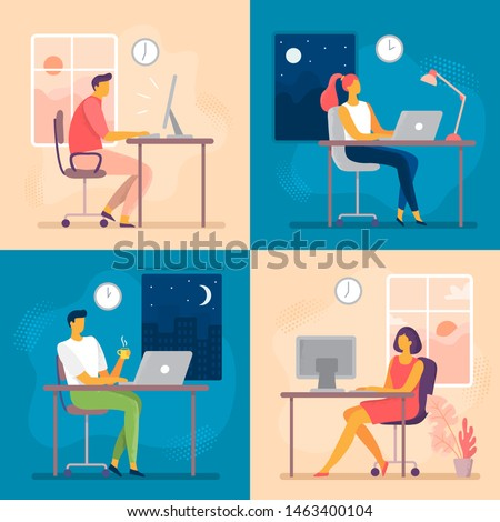 Day or night work. Working late, overtime office works and computer worker nights. Lark and owl workflow, professional businesswoman daily routine or businessman deadline flat  illustration