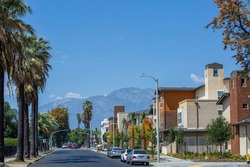 Day time ground level view of the residential area of Ontario, California.