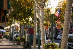 Day time view of the historic downtown district of Garden Grove, California, USA.