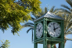 Day time view of the public clock tower in Garden Grove, California, USA.