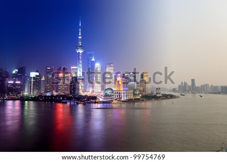 day to night in shanghai,abstract cityscape