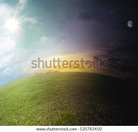 Day to night landscape. scene on globe the meadow path with sun, stars and moon - nobody #520783450