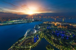Day to night photo for Landscape of Singapore harbor, Singapore