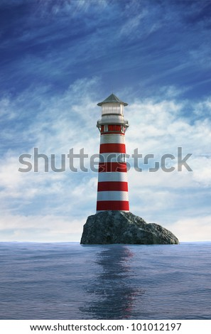 Day view of a red and white old lighthouse