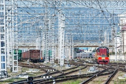Day view of Adler railway station. Sochi. Russia.