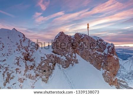 Daybreak on Zugspitze mountain summit with summit cross #1339138073