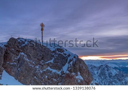 Daybreak on Zugspitze mountain summit with summit cross #1339138076