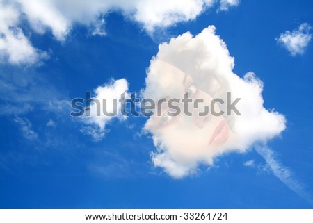 daydream, face of a beautiful woman in a cloud