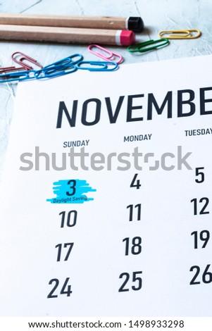 Daylight Saving Time, DST - November 3 marked on Calendar