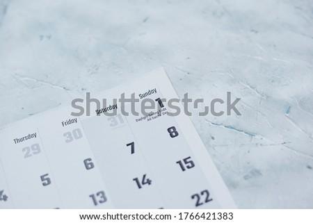 Daylight Saving Time, DST - November 1 marked on Calendar