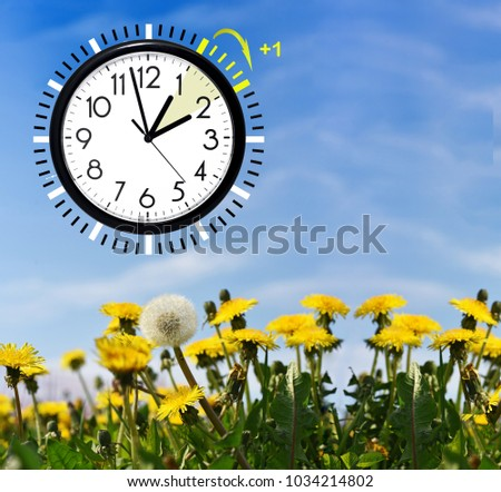 Daylight Saving Time. DST. Wall Clock going to winter time. Turn time forward. Abstract photo of changing time at spring.