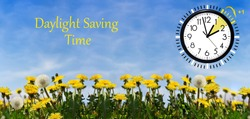 Daylight Saving Time (DST) Wall Clock on spring landscape. Turn time forward. Abstract photo of changing time at spring.