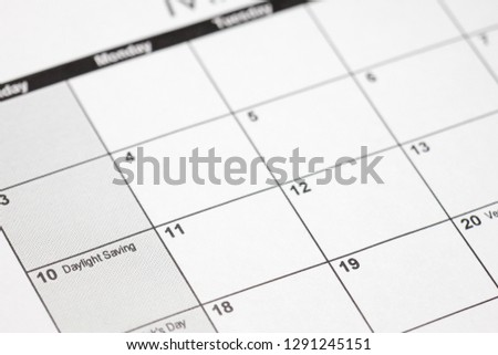 daylight savings 2019 on calendar. Spring Forward Time - Savings Daylight Concept #1291245151