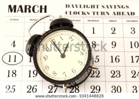 Daylight Savings Spring Forward sunday at 2:00 a.m. March 11 date indicated in the calendar #1041448828