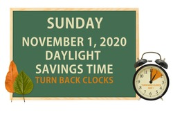 Daylight Savings Time Chalkboard with clock and leaves