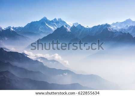 Daylight view of Mount Everest, Lhotse and Nuptse and the rest of Himalayan range from air. Sagarmatha National Park, Khumbu valley, Nepal. #622855634