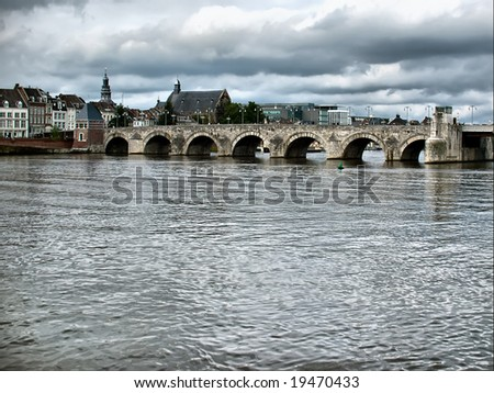 Daylight view of St. Servaasbrug bridge in Maastricht, Netherlands.