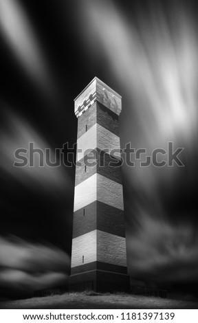 Daymark in black and white, Cornwall, Gribbin Head, UK