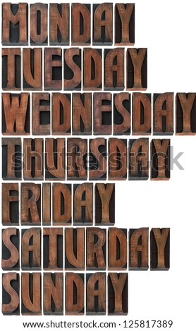 Days of the Week in Printing Blocks Isolated on White Background