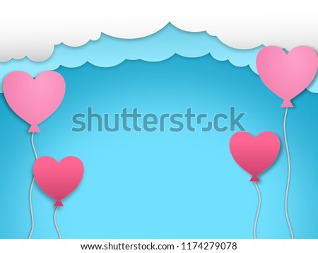 Daytime cloud with pink heart shape balloon background #1174279078