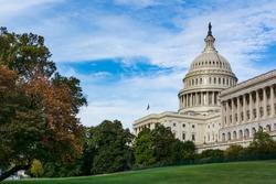 Daytime Landscape US Capitol Building Washington DC Grass Blue Sky