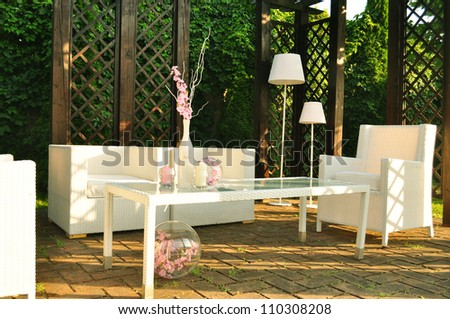 daytime relaxing summertime lounge modern place in the garden