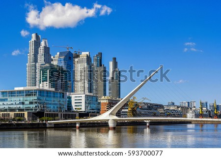 Daytime view at the waterfront in Puerto Madero with the Puente de la Mujer, Buenos Aires, Argentina.