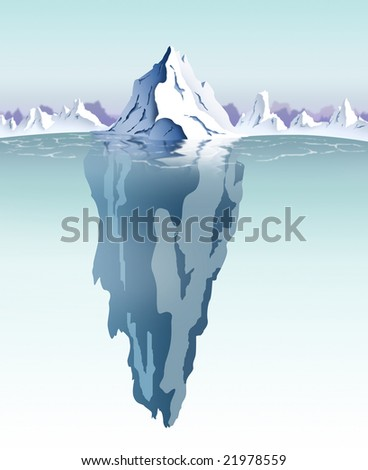 Daytime view of an iceberg with visible underwater surface.