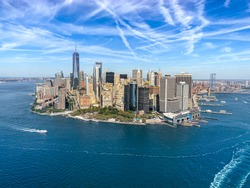 Daytime view of southern Manhattan from helicopter