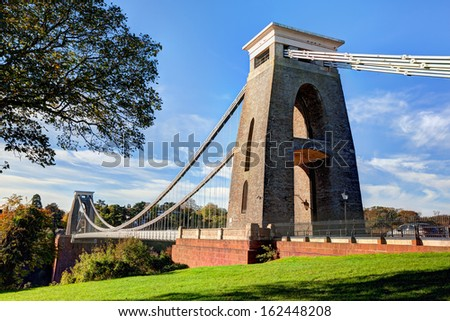 Daytime view of the Clifton Suspension Bridge in Bristol, England #162448208
