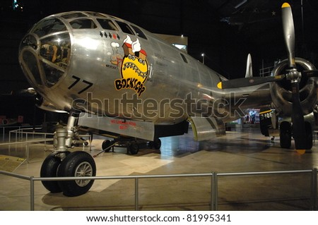 "DAYTON OH - 17 JULY: B-29 ""Bocks car"" bomber at the National Museum of the Air Force, Wright-Patterson Air Force Base on 17 July 2011 in Dayton, Ohio."