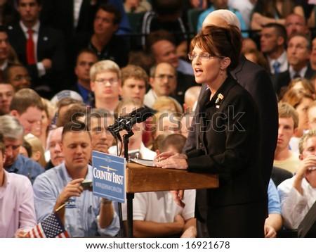 DAYTON OHIO - AUGUST 29 : Sarah Palin speaks to crowd in Dayton Ohio August 29, 2008 at WSU Nutter Center.