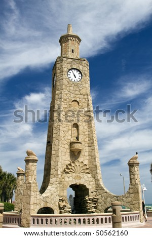 Daytona Beach clock tower located on the beach shore, Florida.