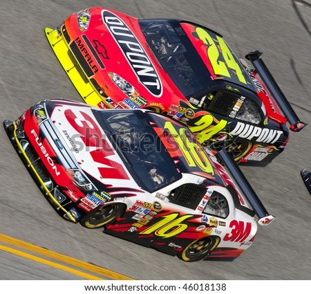 DAYTONA BEACH, FL - FEB 4: Greg Biffle and Jeff Gordon trade lanes during a practice session for the Bud Shootout event at the Daytona International Speedway Feb 4, 2010 in Daytona Beach, FL