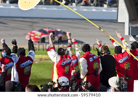 DAYTONA BEACH, FL - FEB 13: Tony Stewart in The Ritz Crackers Chevrolet wins the Drive4COPD 300 at Daytona International Speedway on Feb 13, 2010 in Daytona Beach, FL.