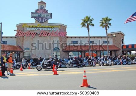 "DAYTONA BEACH, FL - MARCH 6:  Daytona Beach Harley-Davidson store is one hot spot for bikers in town for ""Bike Week 2010"" in Daytona Beach, Florida."