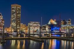 Dazzling Night Cityscape of Baltimore Inner Harbor with National Aquarium