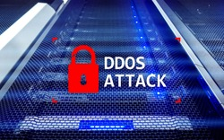 DDOS attack, cyber protection. virus detect. Internet and technology concept.