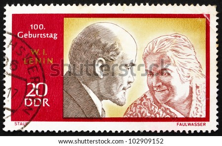 DDR - CIRCA 1970: a stamp printed in DDR shows Lenin and Clara Zetkin, circa 1970