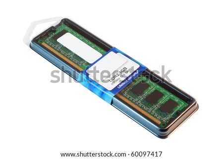 DDR2 memory module in the package. Isolated on white background with clipping path.