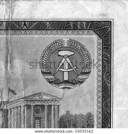 DDR symbol on a vintage East Germany banknote