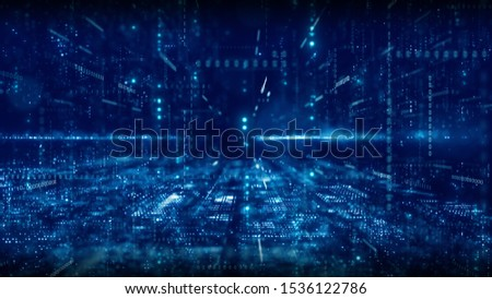 De-focus of blue digital cyberspace and digital matrix with particles and lighting. Digital data network connections and digital data analysis process concept. abstract background.