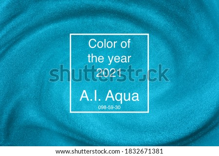 Photo of  De-focused. Abstract elegant, detailed mint blue glitter particles flow with shallow depth of field underwater. Holiday magic shimmering luxury background. Festive sparkles. 2021 color trend
